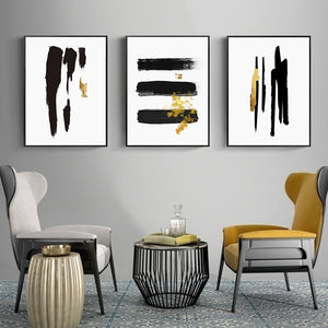 Abstract Black Gold Brush Stroke Wall Art Fine Art Canvas Prints Nordic Minimalist Pictures For Living Room Dining Room Modern Home Interior Wall Art Decoration