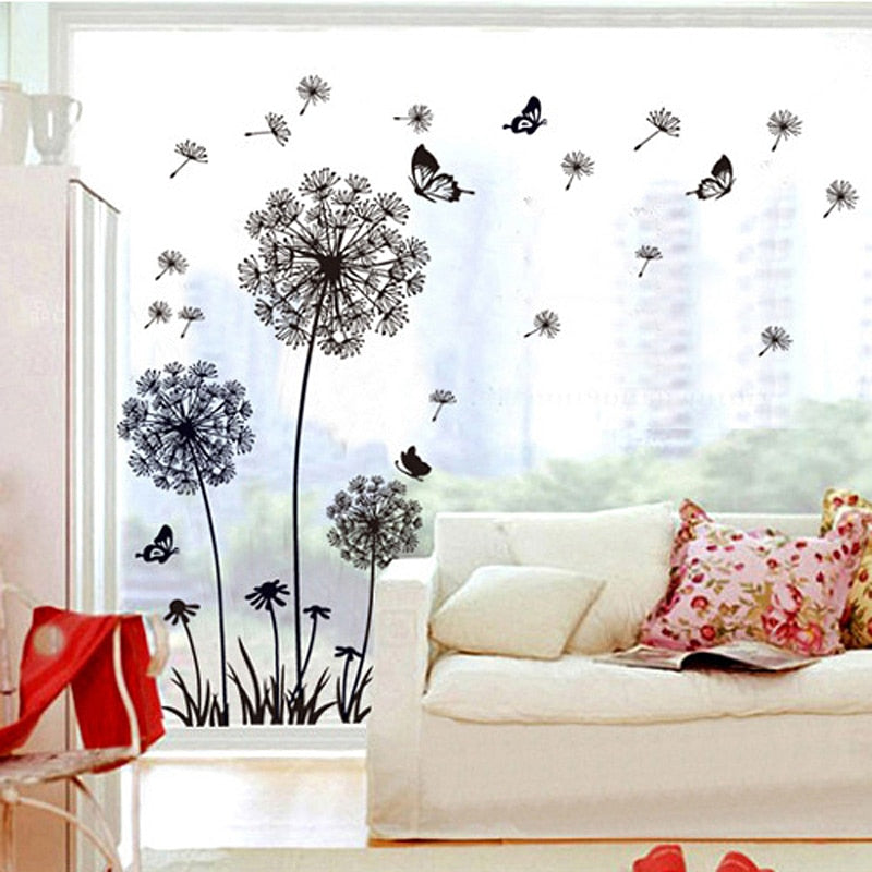 Dandelion Wall Art Mural PVC Sticker For Wall Or Window Black Dandelion Silhouettes Vinyl Decals For Decorating Plain Walls Windows Creative Home Decor