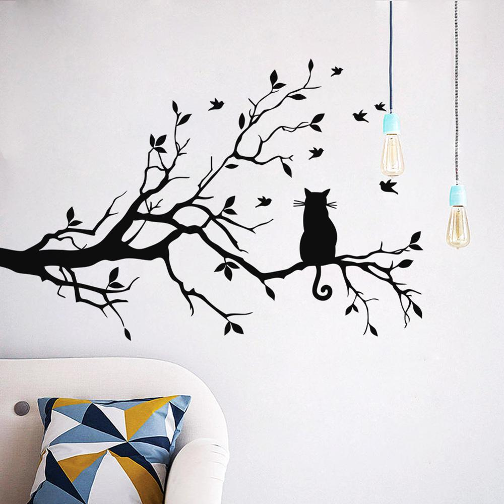 Cat In The Tree Wall Art Mural Cute Removable Peel and Stick PVC Wall Decal Minimalist Silhouette Decor For Living Room Creative DIY Home Decoration
