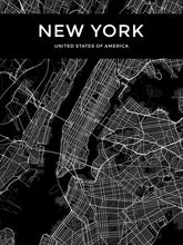 Load image into Gallery viewer, Customized City Map Poster For Your Town Or City Modern Minimalist Black & White Canvas Print Wall Maps Ideal For Home Office Interior Wall Art Decor