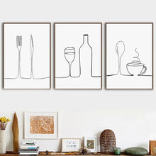 Load image into Gallery viewer, Minimalist Food & Drink Kitchen Wall Art Black White Fine Art Canvas Print For Coffee Shop Restaurant Tea Room Cafe Nordic Style Home Interior Decor