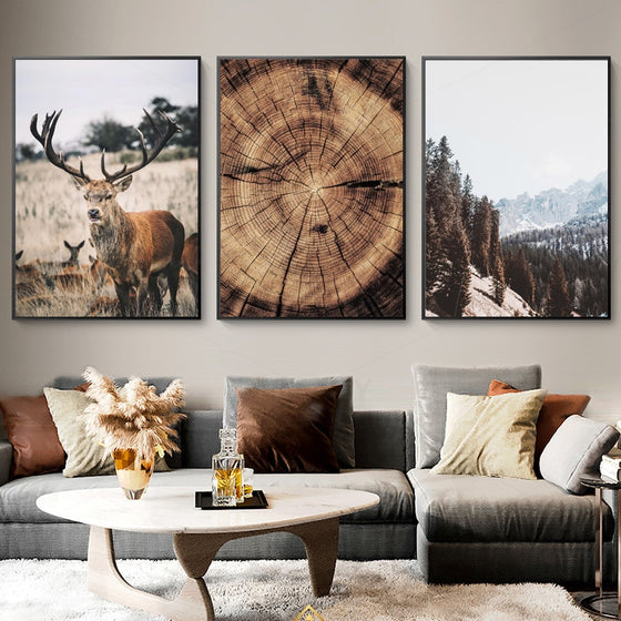 Wilderness Mountain Landscape Nordic Wall Art Wild Animals Forest Deer Rustic Wood Tree Rings Fine Art Canvas Prints Scandinavian Style Home Interior Decor