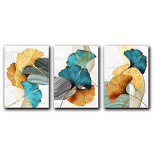 Load image into Gallery viewer, Modern Abstract Floral Wall Art Blue Green Yellow Golden Fine Art Canvas Prints Luxury Pictures For Living Room Bedroom Office Hotel Contemporary Interiors