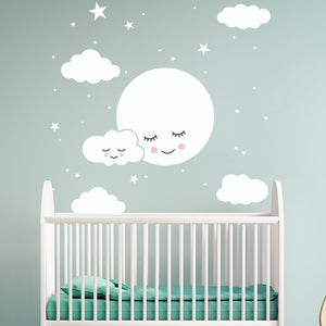 Sweet Dreams Cute Clouds White Wall Decals Removable PVC Vinyl Wall Murals For Baby's Bedroom Kids Room Creative Simple DIY Nordic Style Nursery Wall Art Decor
