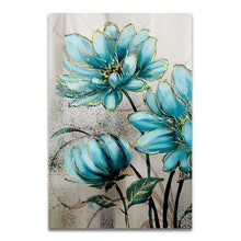 Load image into Gallery viewer, Blue Flowers Bathed In Sunshine Modern Wall Art Floral Pictures Fine Art Canvas Prints For Living Room Bedroom Hotel Room Modern Home Interior Decor