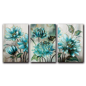 Blue Flowers Bathed In Sunshine Modern Wall Art Floral Pictures Fine Art Canvas Prints For Living Room Bedroom Hotel Room Modern Home Interior Decor