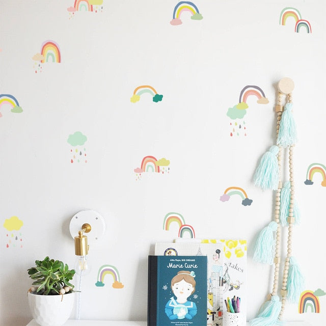 Cute Little Rainbows PVC Wall Decals Removable Wall Stickers Creative Nordic Style Colorful DIY Home Decor For Nursery Kindergarten Classroom Kids Room Decor