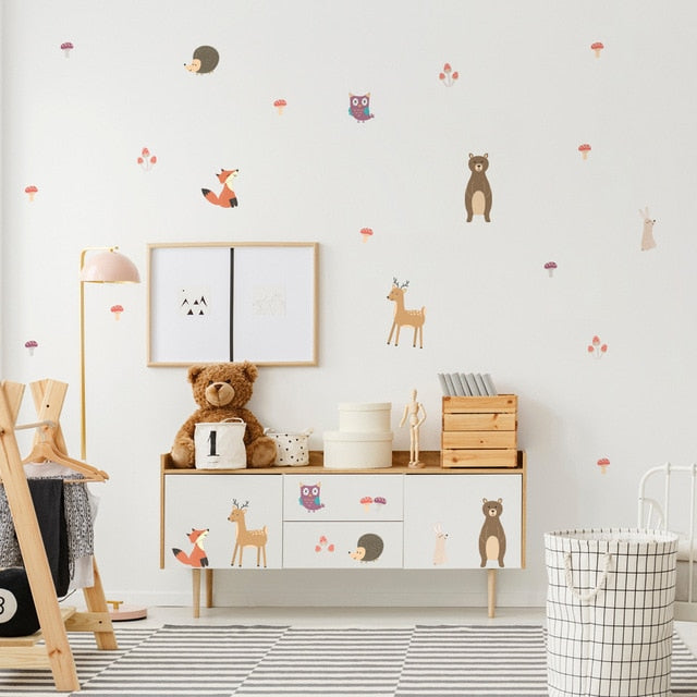 Nordic Woodland Animals PVC Wall Decals Removable Wall Stickers Creative Nordic Style Colorful DIY Home Decor For Nursery Kindergarten Classroom Kids Room Decor