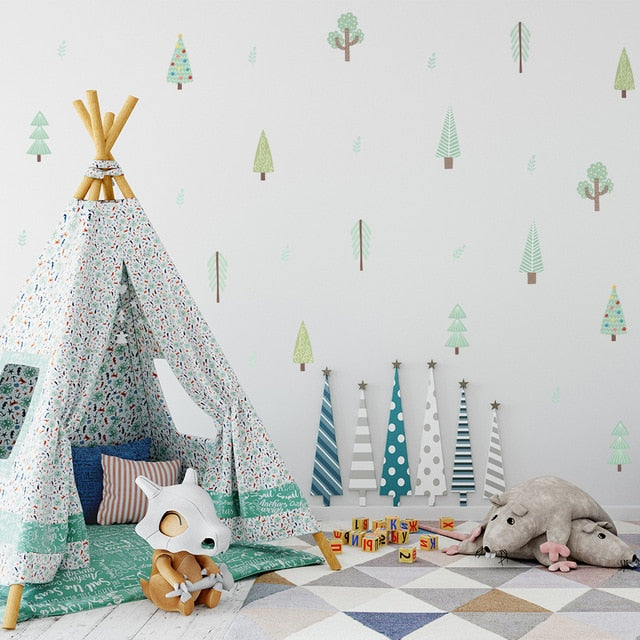 Cute Little Trees PVC Wall Decals Removable Wall Stickers Creative Nordic Style Colorful DIY Home Decor For Nursery Kindergarten Classroom Kids Room Decor