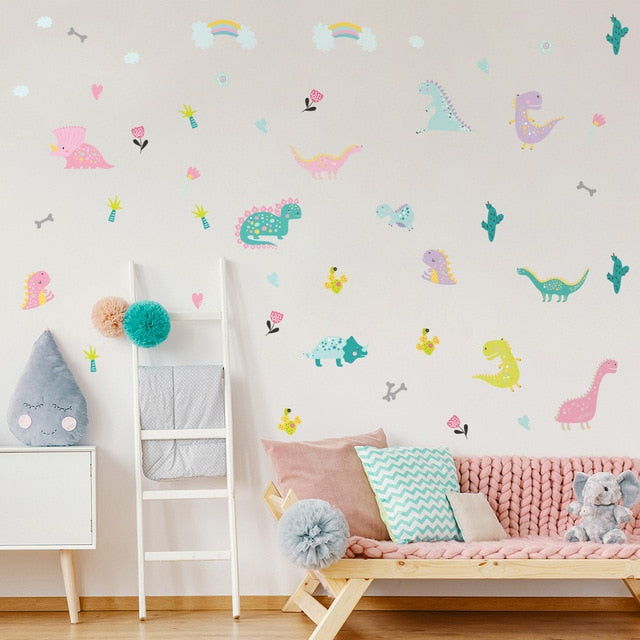 Cute Dinosaurs PVC Wall Decals Removable Wall Stickers Creative Nordic Style Colorful DIY Home Decor For Nursery Kindergarten Classroom Kids Room Decor