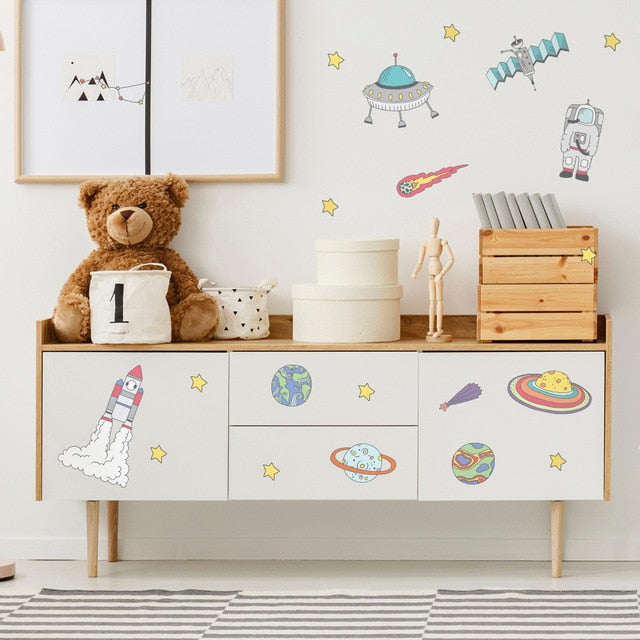 Adventures In Space PVC Wall Decals Removable Wall Stickers Creative Nordic Style Colorful DIY Home Decor For Nursery Kindergarten Classroom Kids Room Decor