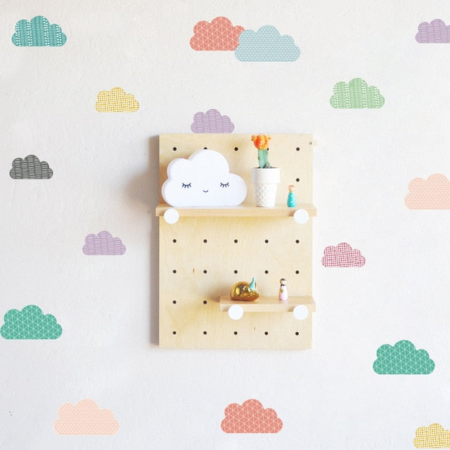 Little Cute Clouds PVC Wall Decals Removable Wall Stickers Creative Nordic Style Colorful DIY Home Decor For Nursery Kindergarten Classroom Kids Room Decor