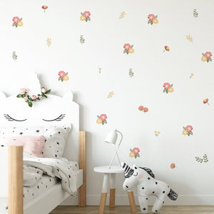 Cute Nordic Nursery Flowers PVC Wall Decals Removable Wall Stickers Creative Nordic Style Colorful DIY Home Decor For Kindergarten Classroom Kids Room Decor