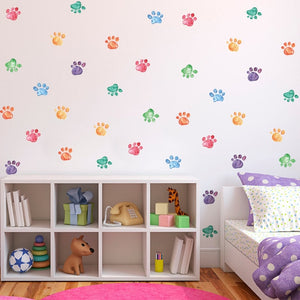 Cute Colorful Paw Prints PVC Wall Decals Removable Wall Stickers Creative Nordic Style Colorful DIY Home Decor For Nursery Kindergarten Classroom Kids Room Decor