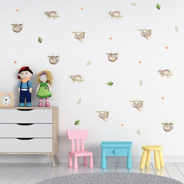 Cute Sloth Life PVC Wall Decals Removable Wall Stickers Creative Nordic Style Colorful DIY Home Decor For Nursery Kindergarten Classroom Kids Room Decor