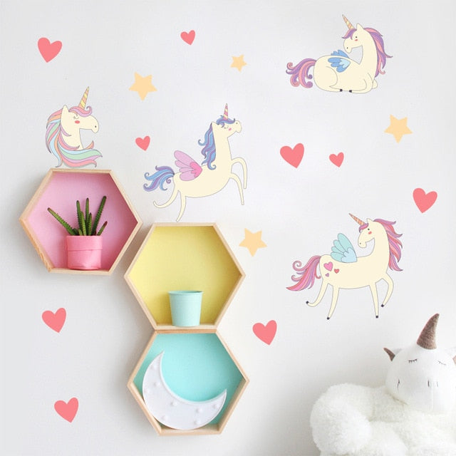 Unicorns And Love Hearts PVC Wall Decals Removable Wall Stickers Creative Nordic Style Colorful DIY Home Decor For Nursery Kindergarten Classroom Kids Room Decor