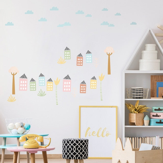 Pastel Street Houses PVC Wall Decals Removable Wall Stickers Creative Nordic Style Colorful DIY Home Decor For Nursery Kindergarten Classroom Kids Room Decor