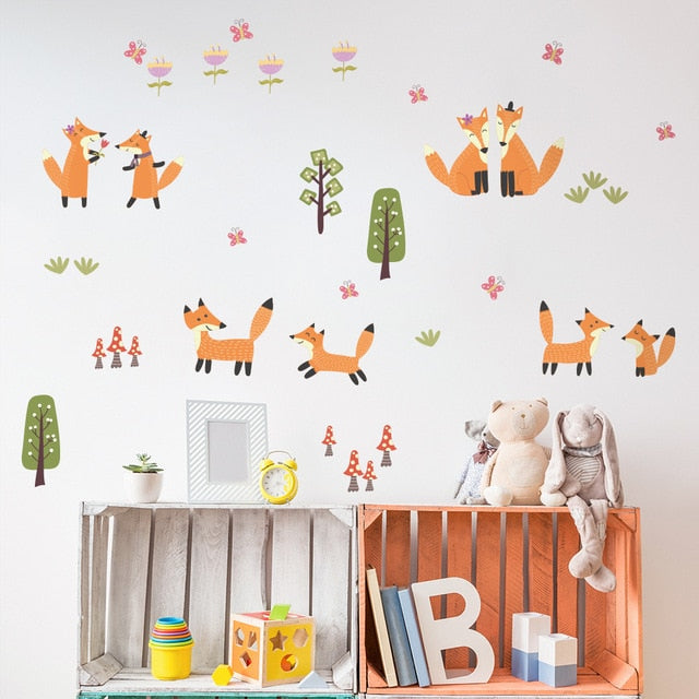 Fox Family Life PVC Wall Decals Removable Wall Stickers Creative Nordic Style Colorful DIY Home Decor For Nursery Kindergarten Classroom Kids Room Decor