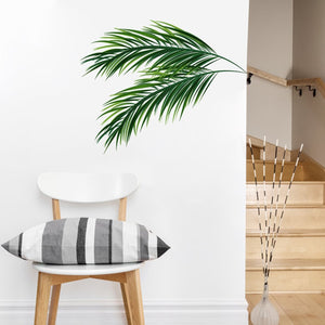 Palm Leaves Branch Simple Wall Mural Removable Peel & Stick PVC Wall Decal For Corner Wall Edge Modern Green Leaves Nordic Style Creative DIY Home Decor