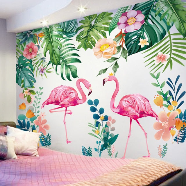 Pink Flamingo Tropical Botany Wall Mural PVC Decals Nordic Style Creative DIY Removable Wall Sticks For Kids Bedroom Colorful Nursery Room Wall Decoration