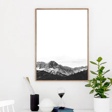 Load image into Gallery viewer, Minimalist Black & White Landscape Wall Art Fine Art Canvas Print Inspirational Mountain Wilderness Scenery Modern Pictures For Living Room Scandinavian Style Decor