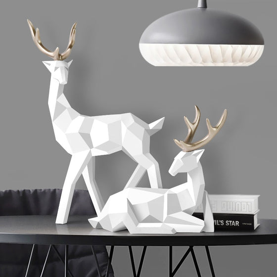 Abstract Geometric Golden Reindeer Sculptures Majestic Nordic Deer Statues For Tabletop Decoration Nordic Style Living Room In White Black Gold Blue Set Of Two