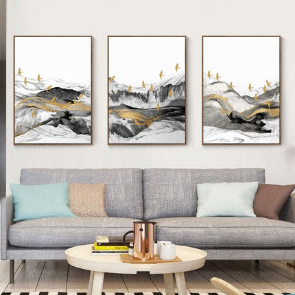 Abstract Golden Winter Landscape Wall Art Fine Art Canvas Prints Nordic Style Minimalist Contemporary Pictures For Bedroom Living Room Wall Art Decoration