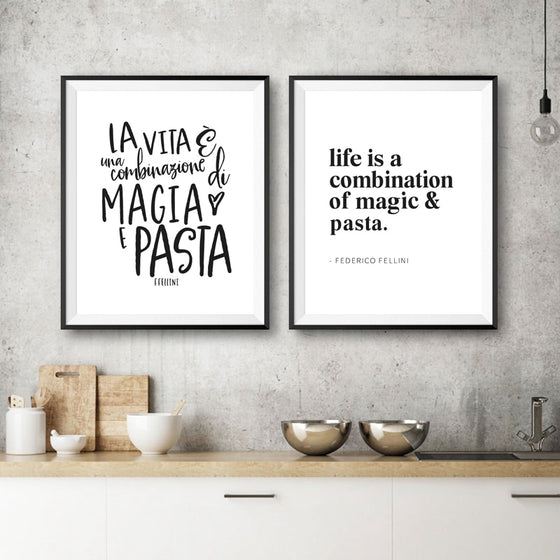 Magic And Pasta Italian Lifestyle Kitchen Food Fellini Quote Wall Art Fine Art Canvas Print Modern Mininalist Typographic Wall Art For Foodies Kitchen Wall Art Decor