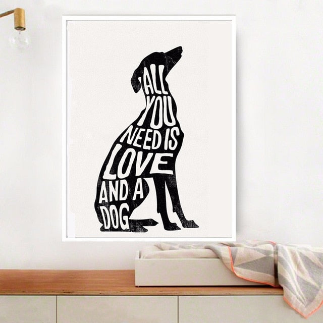 All You Need Is Love And A Dog Minimalist Wall Art Poster Greyhound Nordic Wall Art Canvas Print Pictures For Living Room