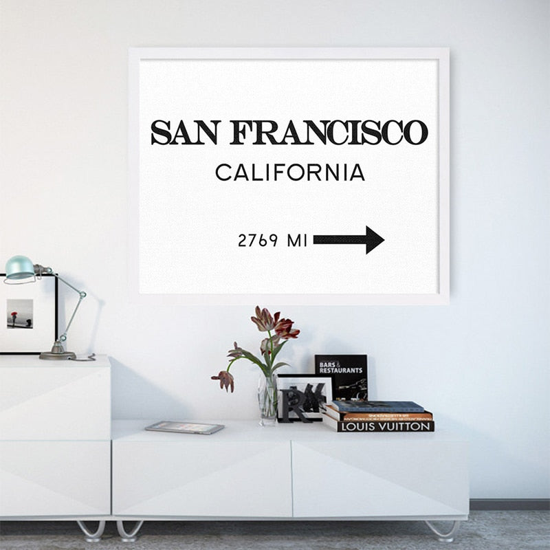 San Francisco Signpost USA Wall Art Canvas Fashion Poster Minimalist Art Interior Design Painting For Modern Living Room Home Decor