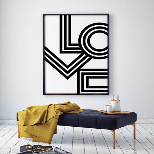 Retro LOVE Poster Minimalist Big Bold Black White Canvas Art Print Modern Love Art Painting Pictures For Salon or Bedroom