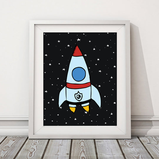 Rocket in Space Canvas Cool Painting for Kids Room Colorful Nordic Nursery Art Canvas Posters For Kids Room Home Decor