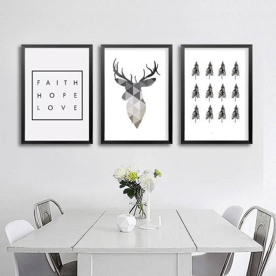 Modern Nordic Art Posters Faith Hope Love Geometric Deer Love Quote Simple Tree Painting Scandinavian Wall Art Home Decor