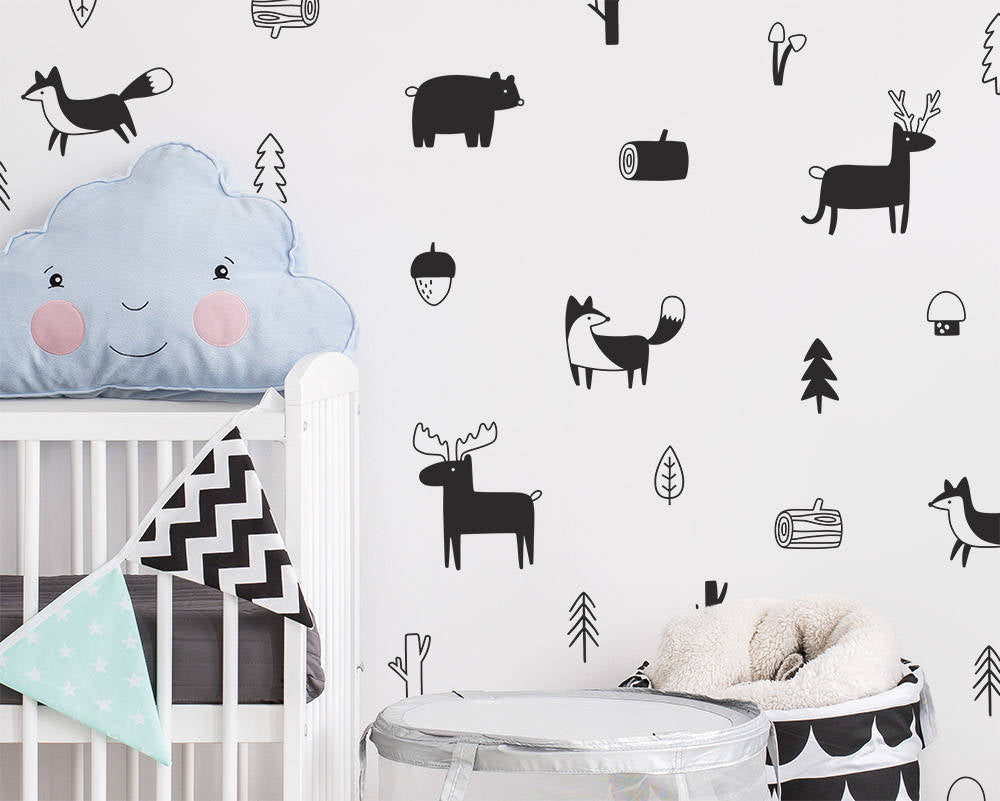 Cute Nordic Forest Animal Wall Decals Nursery Wall Decor Bear Fox Reindeer Woodland Characters Kids Room Modern Wall Decor Vinyl Art Wall Stickers