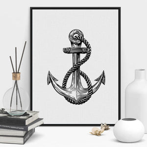 Iconic Anchor Black And White Nautical Sailor Themed Wall Art Fine Art Canvas Prints Minimalist Pictures For Modern Beach Home Office Decor