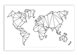 Abstract Line Art Geometric Map Of The World Minimalist Black And White  Fine Art Canvas Print For Office Home Interior Modern Home Wall Decor