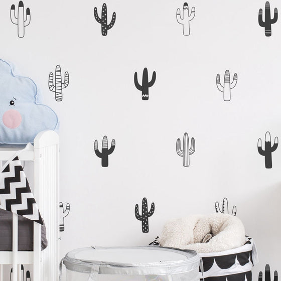 Little Cactus Wall Decals Nordic Style Nursery DIY Wall Decor Removable Vinyl Matt PVC Stickers For Creative Kids Room Wall