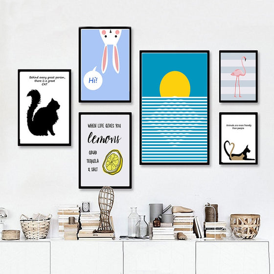 Delightful Modern Cartoon Animals Colorful Pop Art Posters Canvas Prints Cat Themed Retro Wall Art For Animal Lovers Home Decor