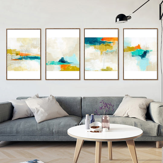 Colorful Abstract Watercolour Landscape Water Sky Canvas Posters Nordic Wall Art Poster Prints For Modern Living Room Home Decor.
