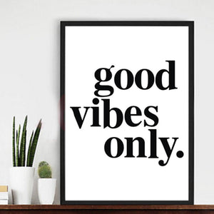 Good Vibes Only Canvas Wall Art Big Bold Statement Modern Black and White Canvas Poster Paintings For Kids Bedroom Home Decor