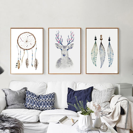 Mystical Tribal Nordic Wall Art Canvas Paintings Deer Art Dream Catchers and Magical Feathers Elegant Wall Art Pictures for Living Room Home Decor