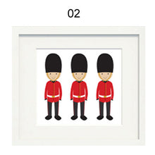 Load image into Gallery viewer, London Theme Nursery Paintings London Bus Taxi and Bearskin Guards Canvas Painting Nursery Wall Art Posters For Kids Room