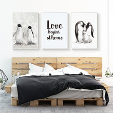 Load image into Gallery viewer, Cute Penguins Family Love Themed Posters Delightful Nordic Canvas Wall Art Prints Paintings For Living Rooms or Bedrooms Modern Home Decor