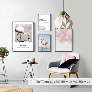 Pink and Blue Flamingo and Flowers Abstract Living Room Art Eye-catching Nordic Fashion Canvas Posters For Modern Home Decor