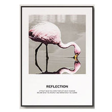 Load image into Gallery viewer, Pink and Blue Flamingo and Flowers Abstract Living Room Art Eye-catching Nordic Fashion Canvas Posters For Modern Home Decor