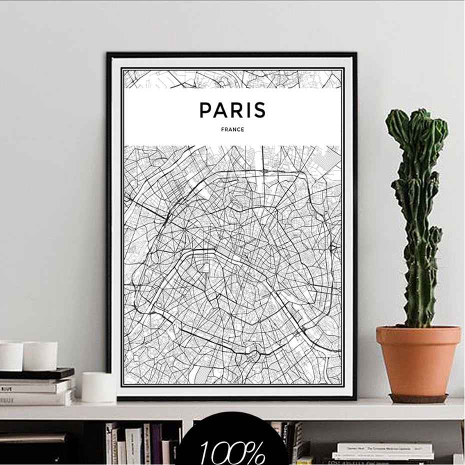 PARIS City Map Poster Minimalist Black & White Abstract Paris Wall Art Canvas Prints For Office, Condo or Living Room Modern Home Decor