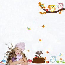 Load image into Gallery viewer, Cartoon Woodland Animals Tree Life Nursery Wall Art Decal Owls Monkey Deer And Bear DIY Nordic Style Kids Room Wall Art Decoration