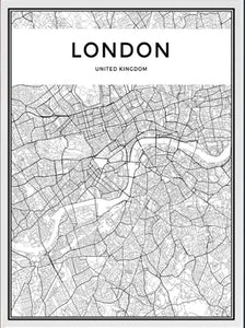 London Map Wall Art Poster London City Skyline Canvas Black and White Modern Abstract Art Prints For Office or Living Room Modern Home Decor