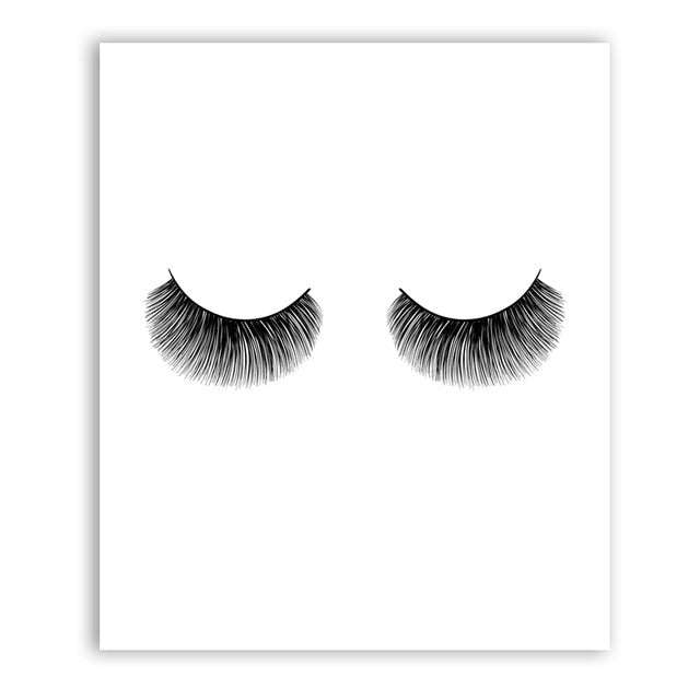 Black and White Eyelashes Fashionable Posters Minimalist Simple Fine Art Canvas Prints Nordic Style Wall Art For Modern Home Interior Decor