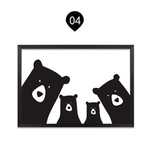 Load image into Gallery viewer, Family of Bears Cute Animal Wall Art Canvas Paintings Black White and Color Modern Cute Nordic Wall Art Posters Family Art